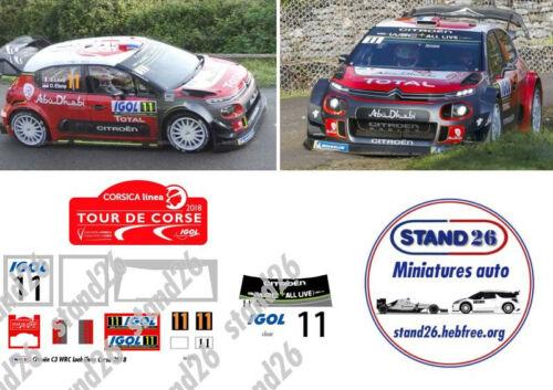 Decals Citroën C3 WRC Loeb correctif Tour de Corse 2018 Altaya 1//43e