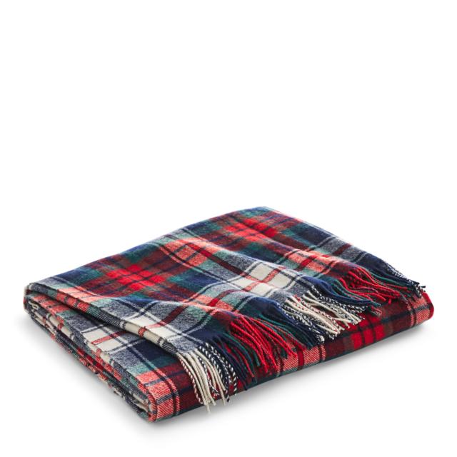 Ralph Lauren Hadwin Tartan Plaid Wool Throw Blanket Blue Red Cream Best Red And Blue Throw Blanket