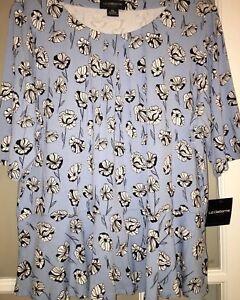 3085cda983ad80 NWT Liz Claiborne Women s Shirt Sz XXL Blue White Black Flowers Top ...