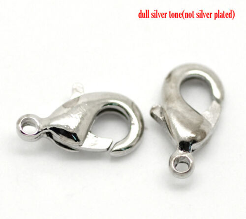 15 SILVER TONE LOBSTER//PARROT CLASPS Nickel Free 71G 10x6mm BRACELETS-NECKLACE