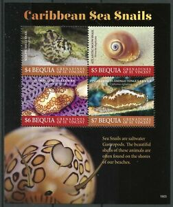 Bequia-Grenadines-St-Vincent-2019-MNH-Caribbean-Sea-Snails-4v-M-S-Marine-Stamps
