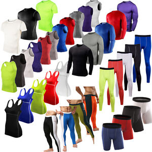 Men-Compression-Base-Layer-Tops-Tight-T-Shirt-Vest-Shorts-Long-Pant-Gym-Athletic