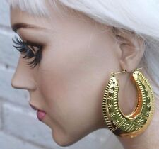 AZTEC DOOR KNOCKER ROUNDED GOLD TONE CREOLE HOOP LARGE EAST LONDON EARRINGS