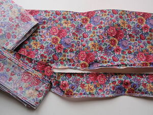 Vintage Chintz Floral Wide Single Wired Edge Fabric Trim Wide Plus Narrow Pair