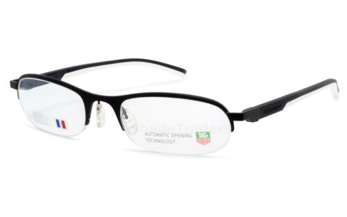TAG HEUER AUTOMATIC SEMI RIMLESS OPTICAL GLASSES FRAME BLACK WHITE TH 0823 011