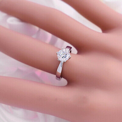 Classic 1ct Diamond Solitaire Engagement Ring Platinum Pt950 Finish Sizes 5 12 Ebay