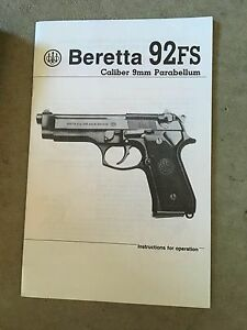 beretta 92 fs factory owners manual 1990 26 pages ebay rh ebay com beretta 92fs manual pdf download beretta 92 fs manuale d'uso
