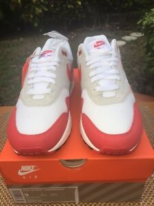 Nike Air Max 1 Anniversary OG White University Red 908375 103 Sz 9 ... b12016e65