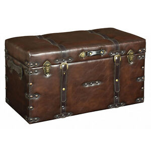FAUX-Leather-Look-Large-Storage-Trunk-Case-Brown-ZPGUGK002L