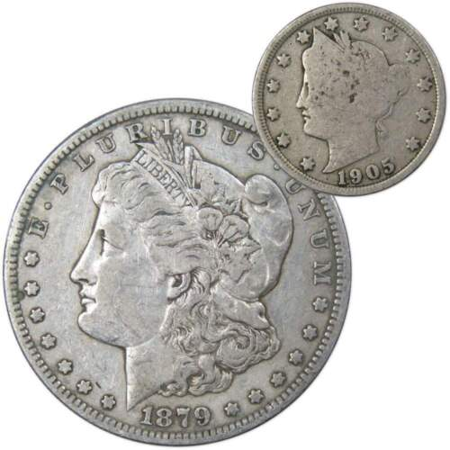 3rd Rev 1879-S Rev of 1879 $1 Morgan VF with 1905 Liberty Head 5c G Coin Lot