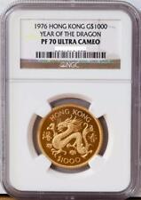 RARE 1976 Hong Kong $1000 Gold Dragon PROOF Coin NGC PF70 Perfect Grade