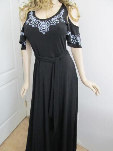 USA Women/'s Cold Shoulder Floral Sleeves Black Solid Boho Maxi Dress S M L
