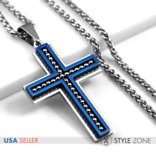 MEN/'s Stainless Steel Bead Greek Key Cross Blue Pendant Braid Necklace Cool 12O