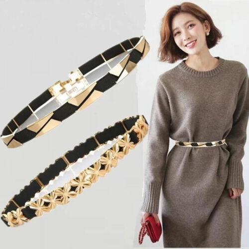 Fashion Women Waist Belt Waistband Metal Flower Elastic Stretch Buckle for Dress