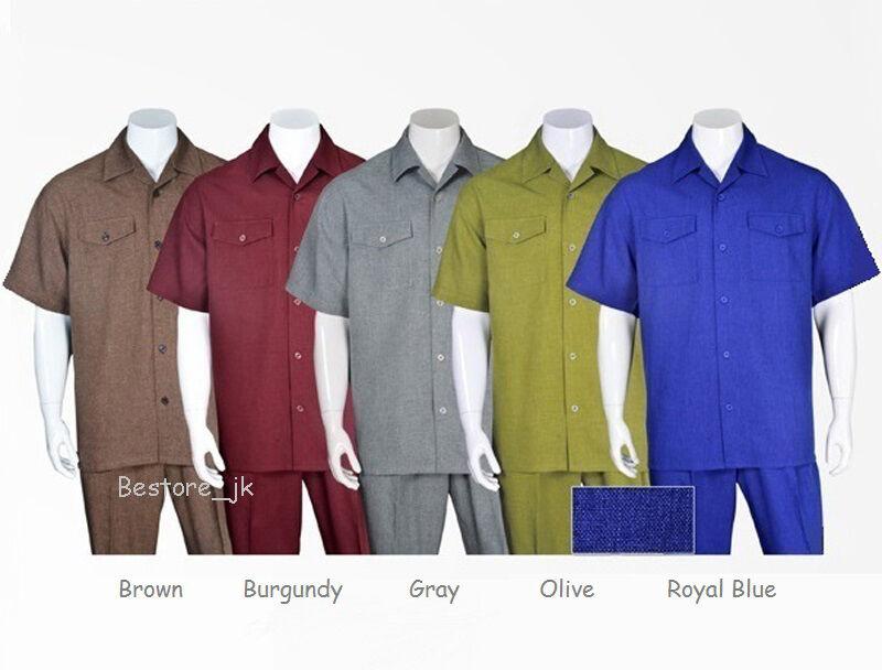 Men's 2pc Walking Suit Short Sleeve Casual Shirt & Pants Set M2961