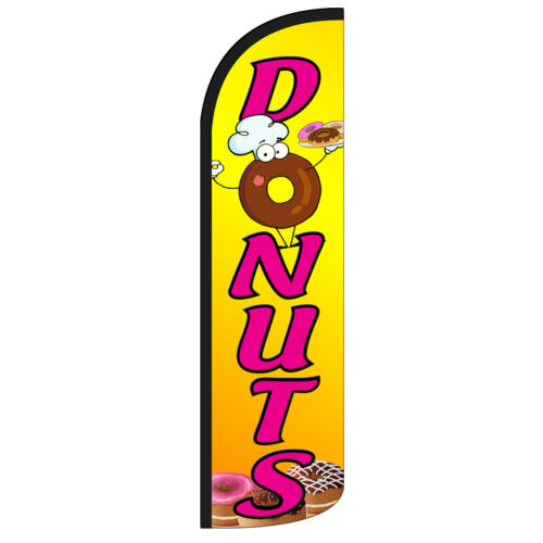 Windless Swooper Feather Flag Tall Banner Sign 3' Wide DONUTS YELLOW PINK
