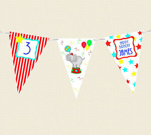 PERSONALISED-CHILDREN-039-S-BIRTHDAY-PARTY-CIRCUS-ELEPHANT-THEME-BUNTING-BANNER