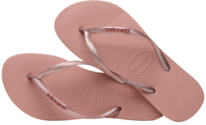 4990ea11ebe5 Havaianas Women`s Flip Flops Slim Logo Metallic Sandal Rose Glitter ...