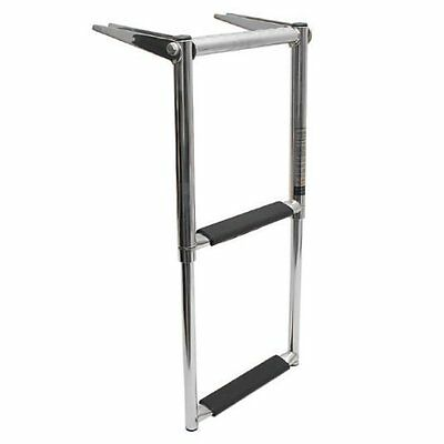 Marine Boat 2 Step Stainless Telescoping Swim Ladder with Built in Handle AM