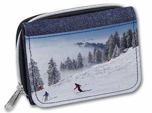 Snow-Ski-Skiers-on-Mountain-Girls-Ladies-Denim-Purse-Wallet-Christmas-G-SKI-1JW