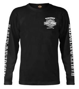 Harley-Davidson-Men-039-s-Skull-Lightning-Crest-Graphic-Long-Sleeve-Shirt-Black