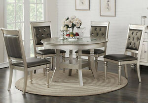 Image Is Loading 5 Pcs Dining Set Round Table Glass Top