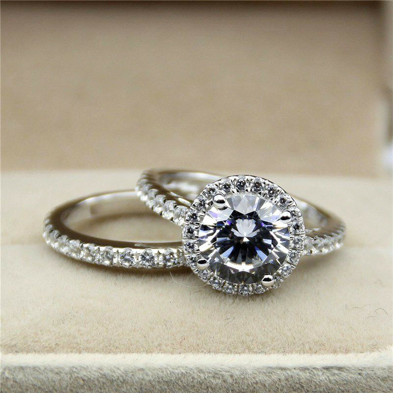 Certified 3.00 Ct Round Cut Diamond 14k White gold Bridal Set Engagement Ring