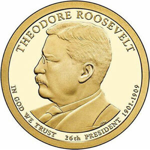 2013-D Theodore Roosevelt Presidential Dollar coin uncirculated from mint roll