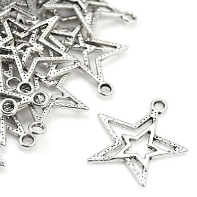 Star Charm//Pendant Tibetan Antique Silver 15mm  30 Charms Accessory Jewellery