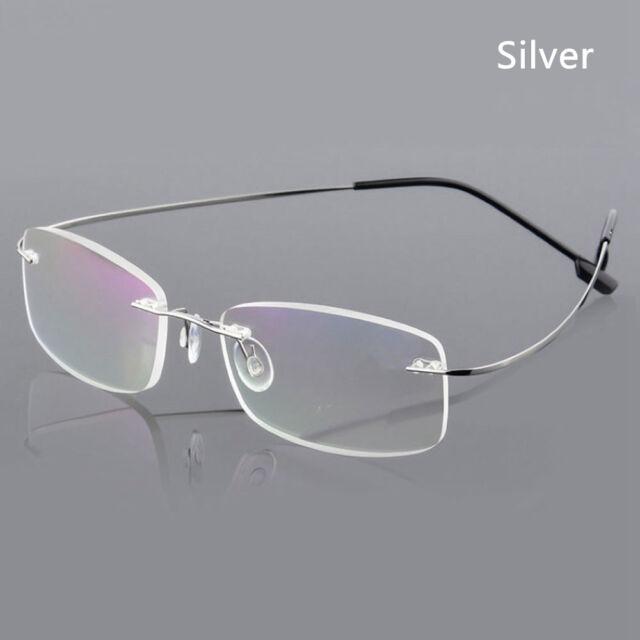 fa9d619cf3db Ultralight Titanium Rimless Rectangular Reading Glasses Spectacles ...