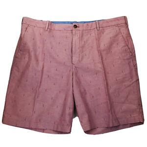 "Izod Sportflex All Over Anchor Print 9.5"" Breeze Oxford Saltwater Shorts Size 42"