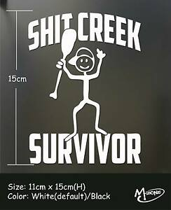 Shit-Creek-Survivor-Funny-Car-Stickers-Truck-Boat-Stickers-Decals-Gift-Present