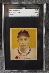 Vintage-Baseball-Card-1949-Bowman-MLB-SGC-96-Mint-9-Ken-Trinkle-Highest-Ever