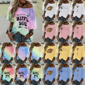 Women-Tie-dye-Floral-Printed-T-Shirt-Short-Sleeve-Tops-Casual-Loose-Blouse-Tees