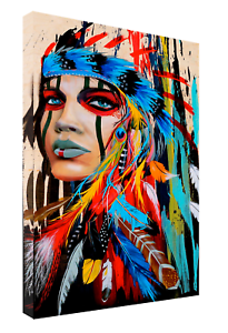 NATIVE AMERICAN COLORFUL ATWORK REPRINT ON FRAMED CANVAS WALL ART HOME DECOR