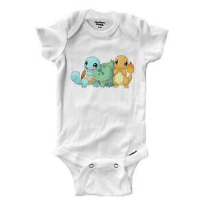 Infant-Gerber-Onesies-Bodysuit-Baby-Clothes-Print-Starter-Bulb-asaur-Squirtle