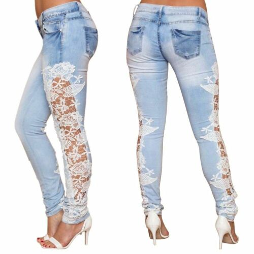 Urban Classics Damen Lace Hollowed-out Jeans Slim Leggings Hose Tights Leggins