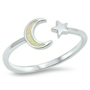 Moon with Stars Ring Genuine Sterling Silver 925 Face Height 8 mm Selectable