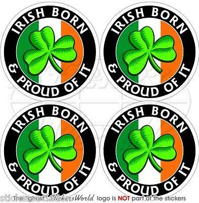 """2/"""" IRELAND Eire Shield Irish Shamrock 50mm Vinyl Bumper Stickers-Decals x4"""