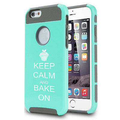 For iPhone X SE 5s 6 6s 7 8 Plus Shockproof Impact Case Keep Calm Bake Cupcake