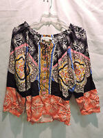 Womens Seventh Avenue Multi Color Blouse With Ties Size Medium
