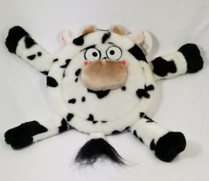 Cow-5-squeaker-plush-disc-dog-toy-toys-puppy-B8