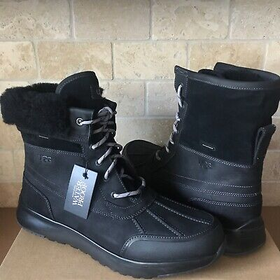 f006de7d1bd UGG ELIASSON BLACK WATERPROOF LEATHER WOOL HIKER SNOW BOOTS SHOES SIZE 12  MENS | eBay