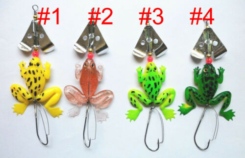 FROG JELLY FISHING LURE SET OF 4 SPINNER TROUT PIKE  PERCH BASS BAIT  TACKLE