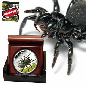 Tuvalu Deadly and Dangerous 2012 FUNNEL WEB SPIDER .999 1oz Silver Coin 1$