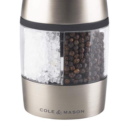 Cole /& Mason électronique Salt /& Pepper Mill Kew 2 à 1 Brossé Chrome Acrylique
