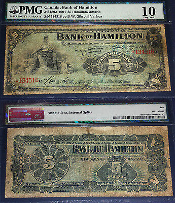 pmg 10 Bank Of Hamilton 1904 $5 18 Known