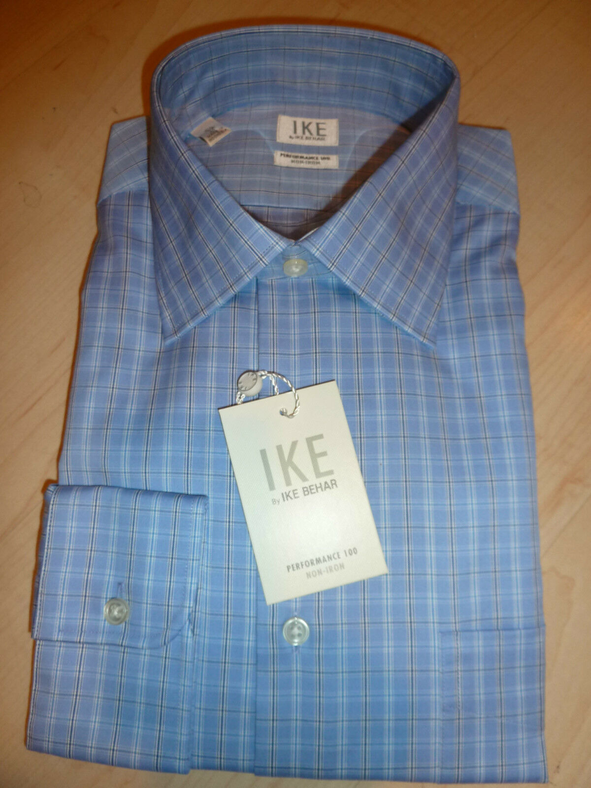 NEW 190 IKE BEHAR  Herren SHIRT Sz 15.5 34 NWT Non-Iron Performance Cotton Blau BC