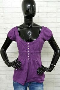 Camicia-MARLBORO-CLASSIC-Casacca-Donna-Taglia-S-Manica-corta-Shirt-Woman-Viola
