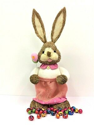 65cm STRAW RABBIT BOY SHOVEL HOME DECORATION EASTER BUNNY STATUE ORNAMENT